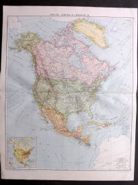 Gross 1920 Large Map. North America - Political
